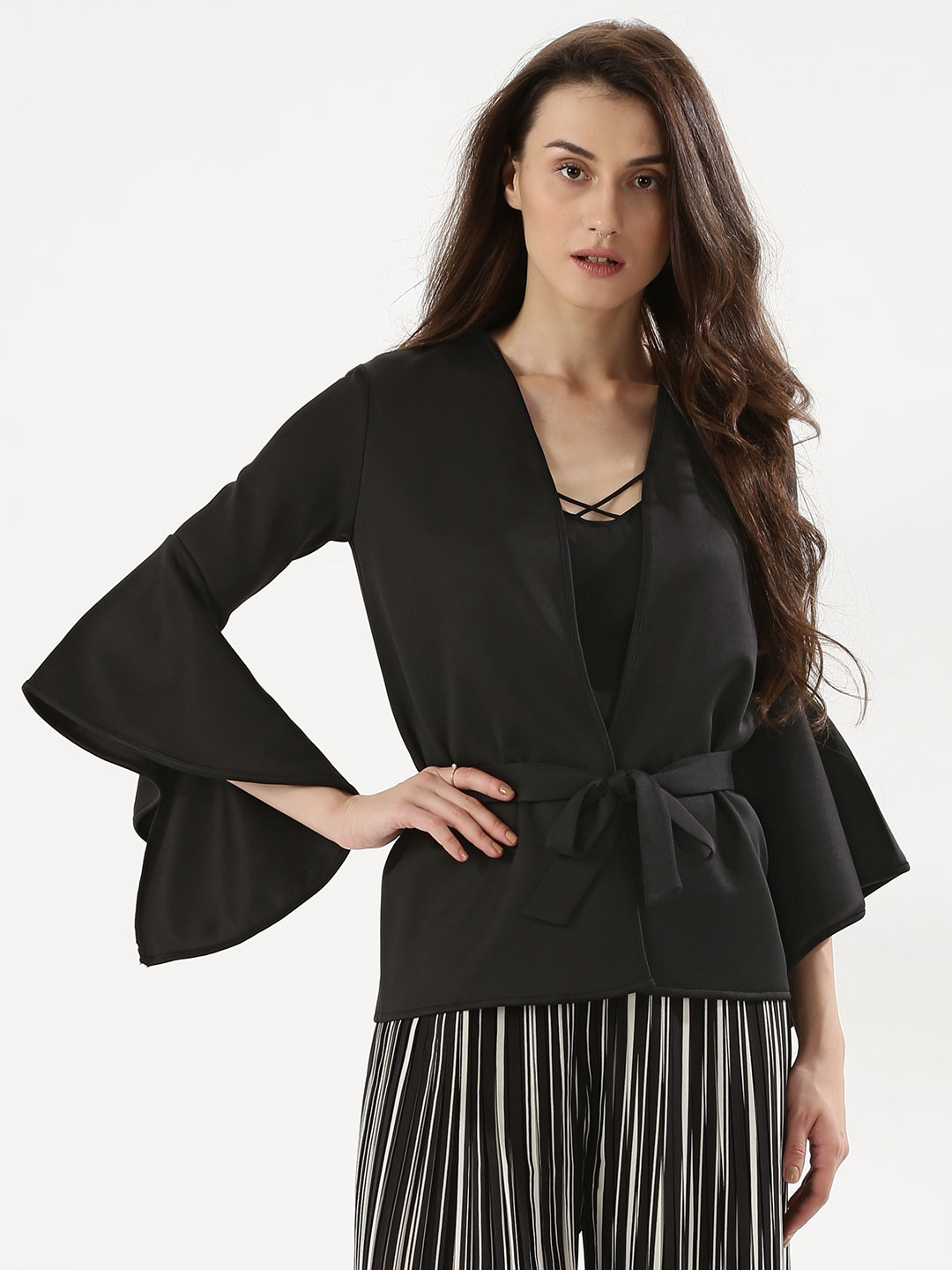 KOOVS Black Fluted Sleeve Belted Jacket 1