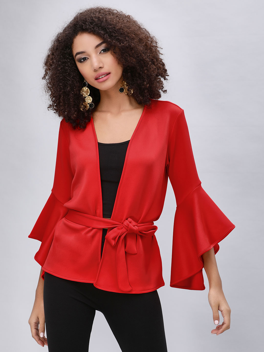 KOOVS Red Fluted Sleeve Belted Jacket 1