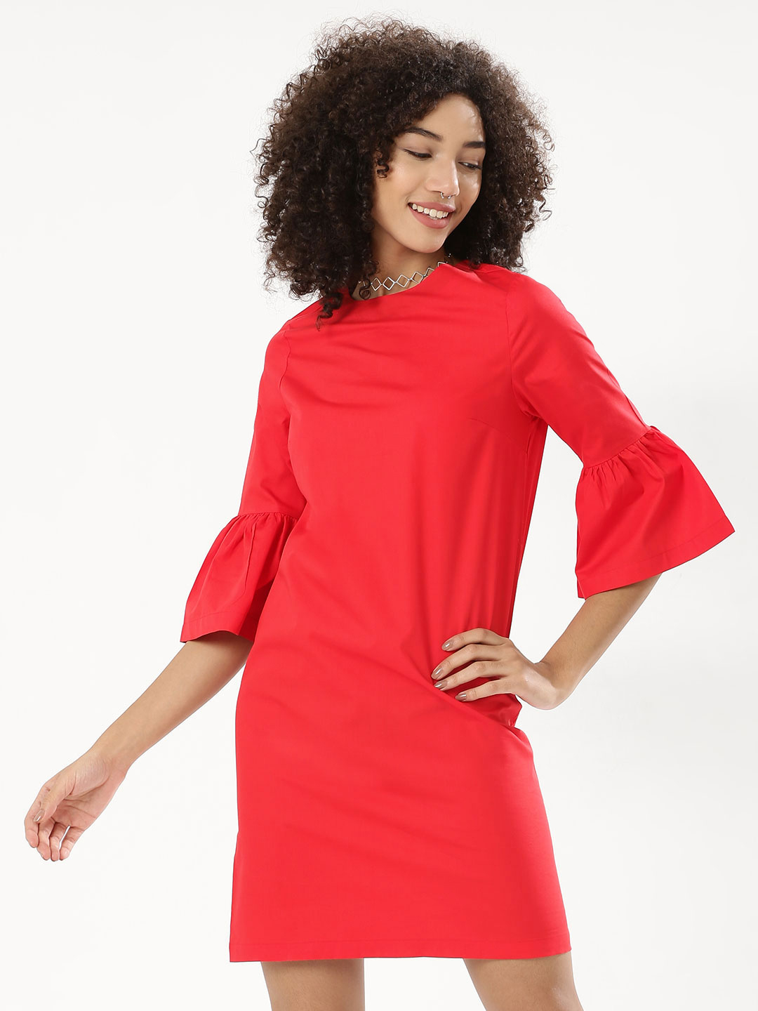 KOOVS Red Volume Sleeve Shift Dress 1