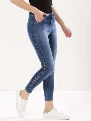 K DENIM Eyelet Lace Up Skinny ...