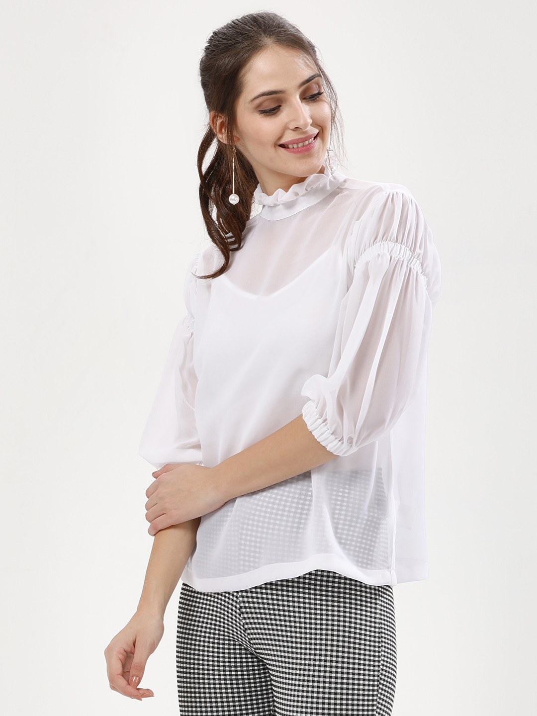KOOVS White Elastic Sleeve Blouse 1