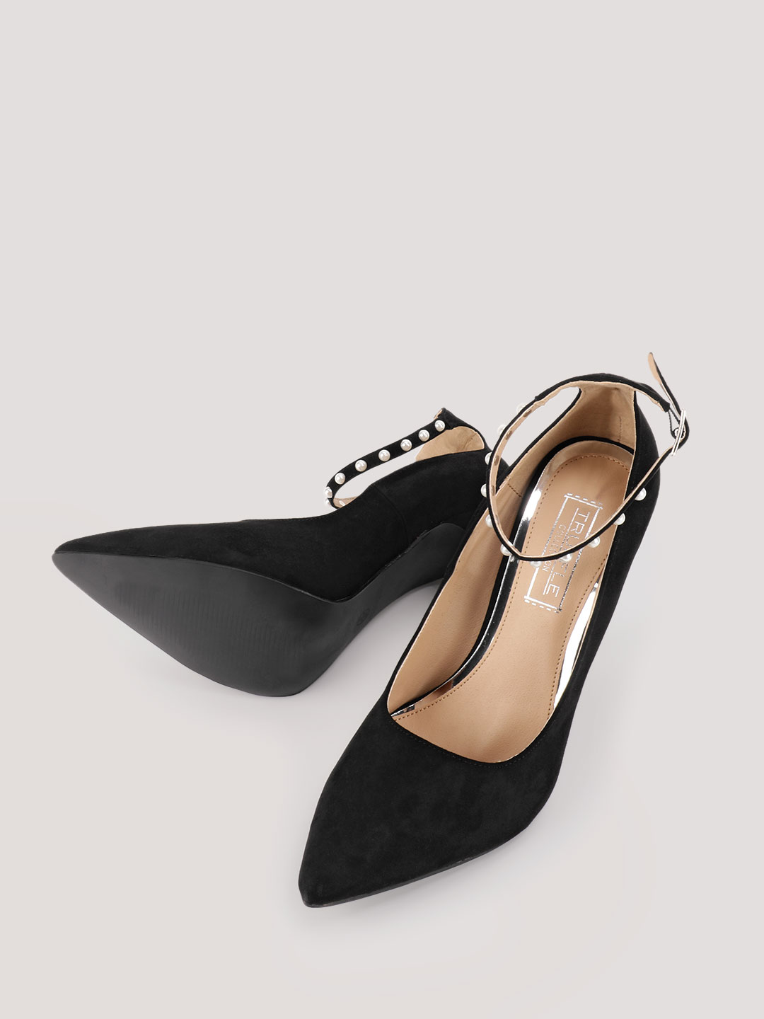 Truffle Collection Black Pumps With Pearl Detail Ankle Strap 1