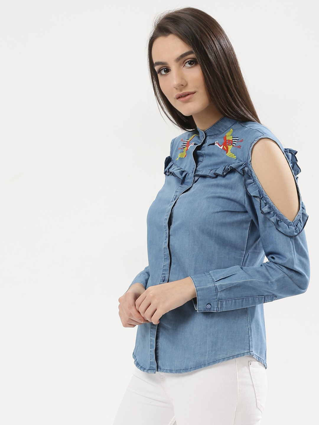 Ri-Dress Blue Denim Shirt With Bird Embroidery 1