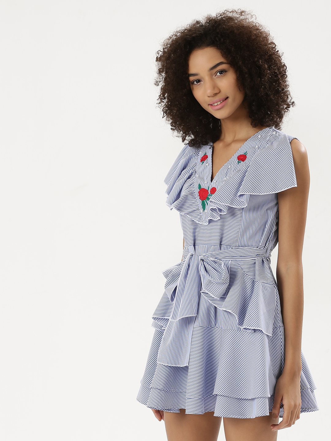 Ri-Dress Blue/White Pearl & Embroidered Mix Ruffle Dress With Waist Tie 1