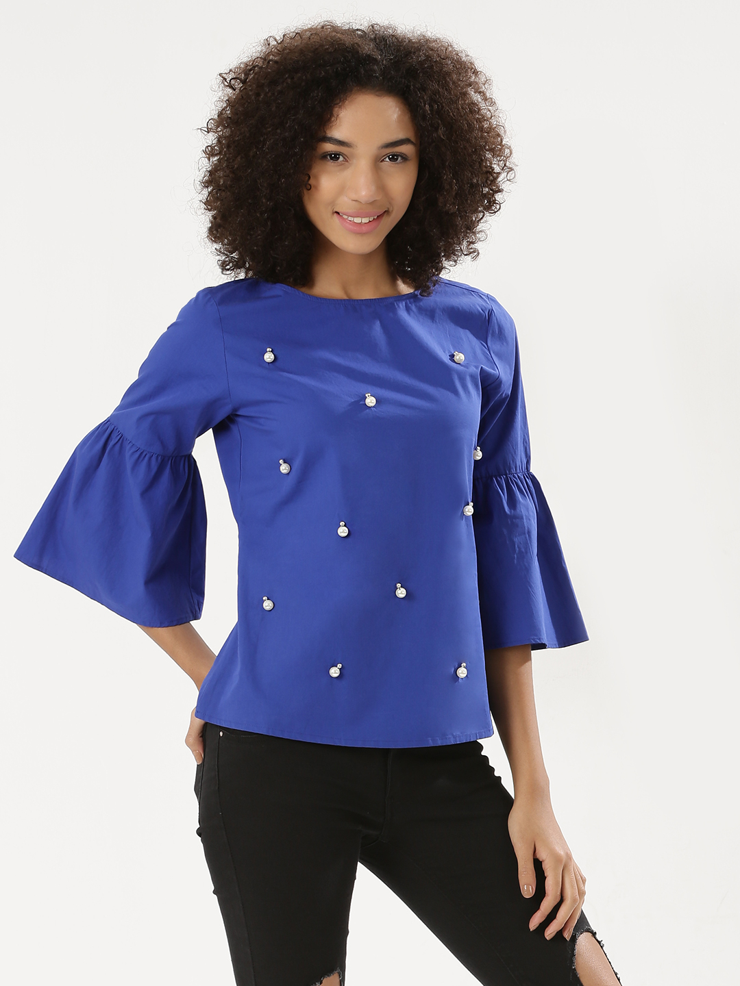 Ri-Dress Blue RIDRESS Flared Sleeve Blouse With Pearl Detail 1