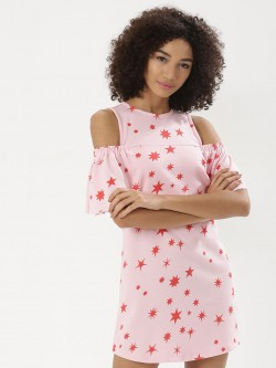 Koovs X Disney Princess Print Cold Shoulder Dress