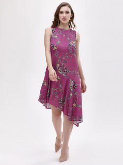 KOOVS Floral Printed Asymmetric Dress