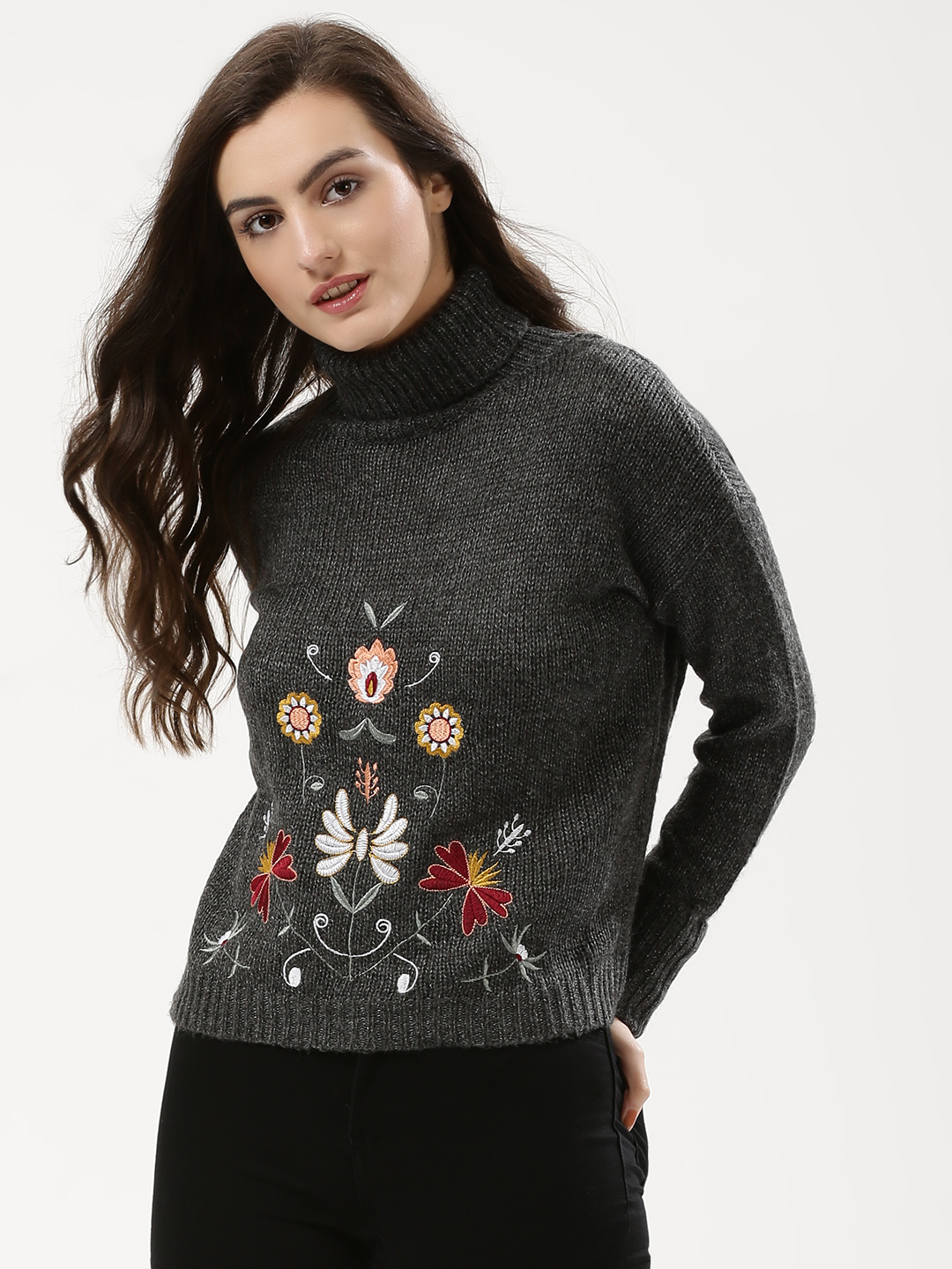 Urban Bliss Dark Grey Floral Embroidered Roll Neck Jumper 1