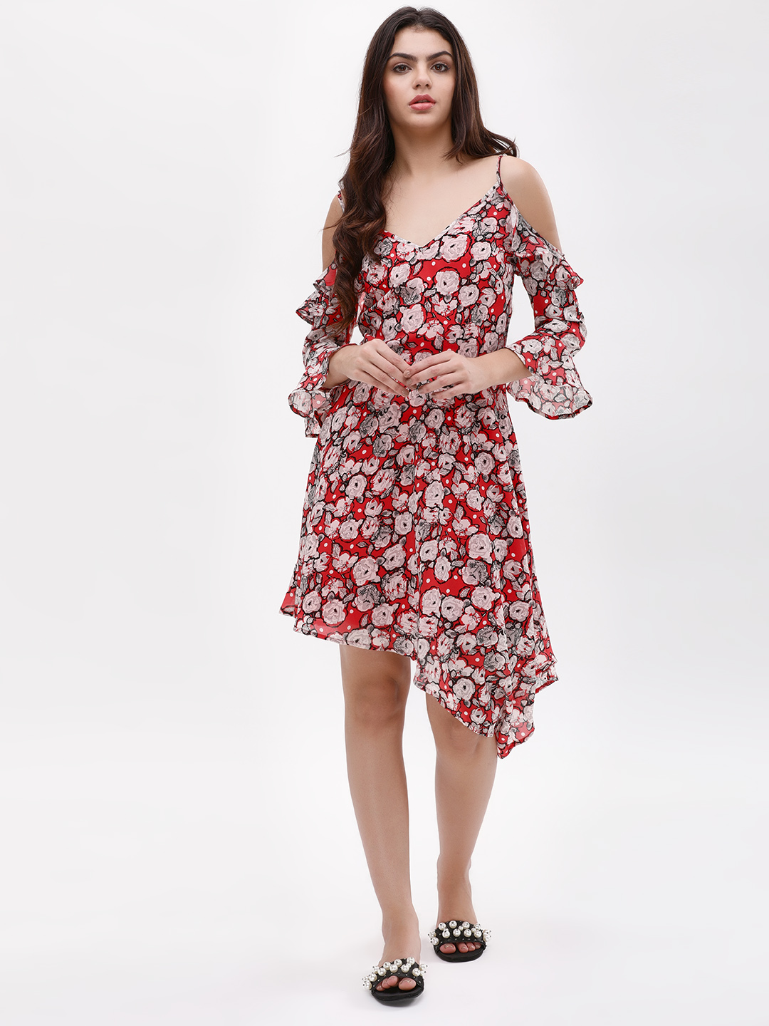 KOOVS Multi Floral Cold Shoulder Asymmetric Dress 1