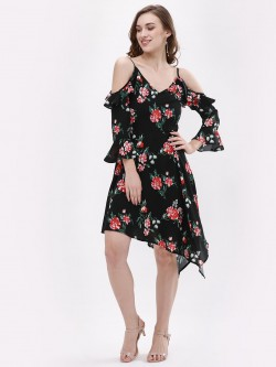 KOOVS Floral Cold Shoulder Asymmetric Dress