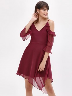 KOOVS Cold Shoulder Asymmetric Dress