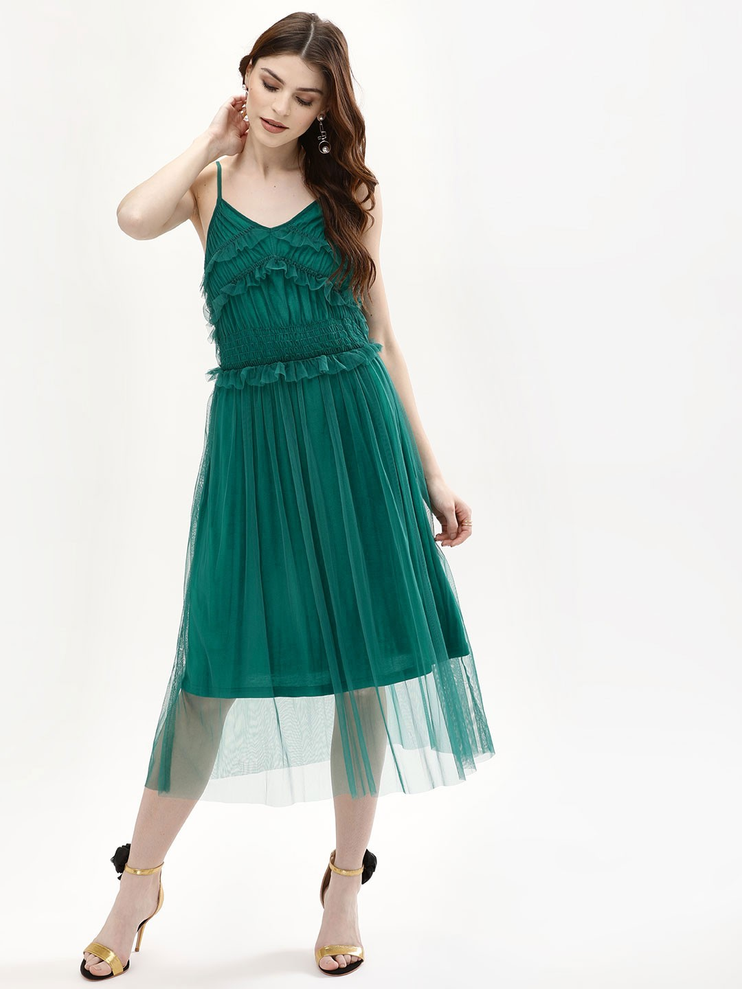 KOOVS Green Ruffle Mesh Slip Dress 1