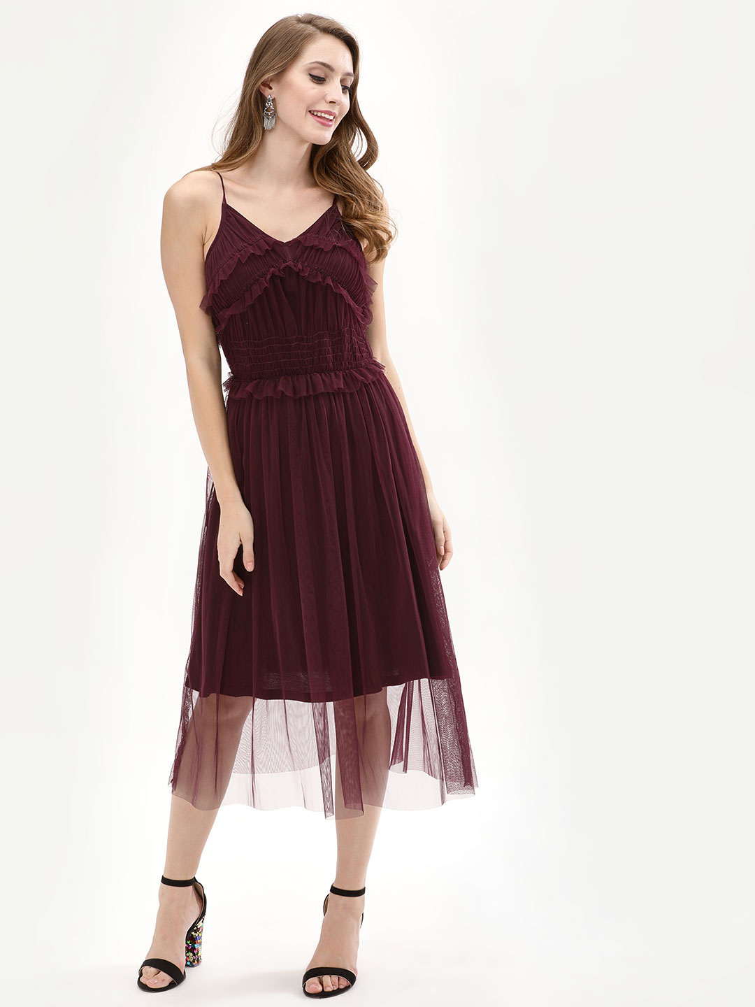 KOOVS Purple Ruffle Mesh Slip Dress 1