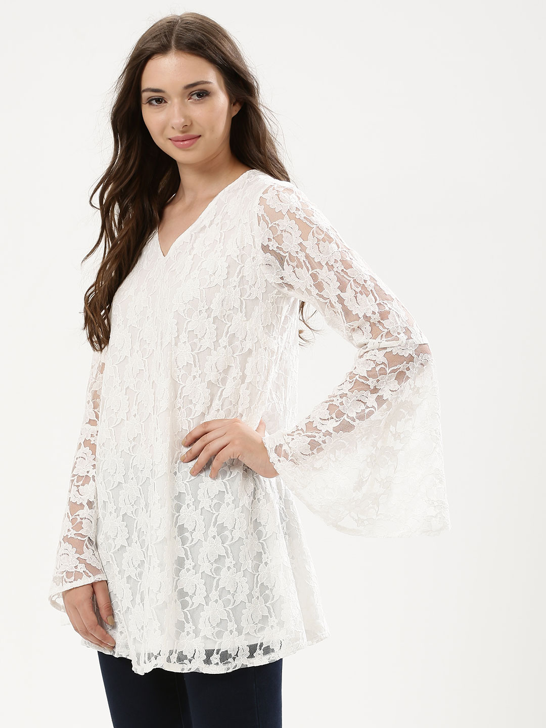 KOOVS White Flute Sleeve Lace Overlay Dress 1
