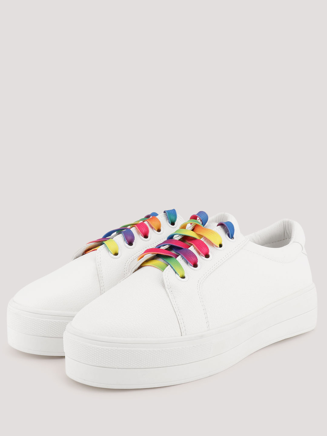 White Trainers With Rainbow Lace