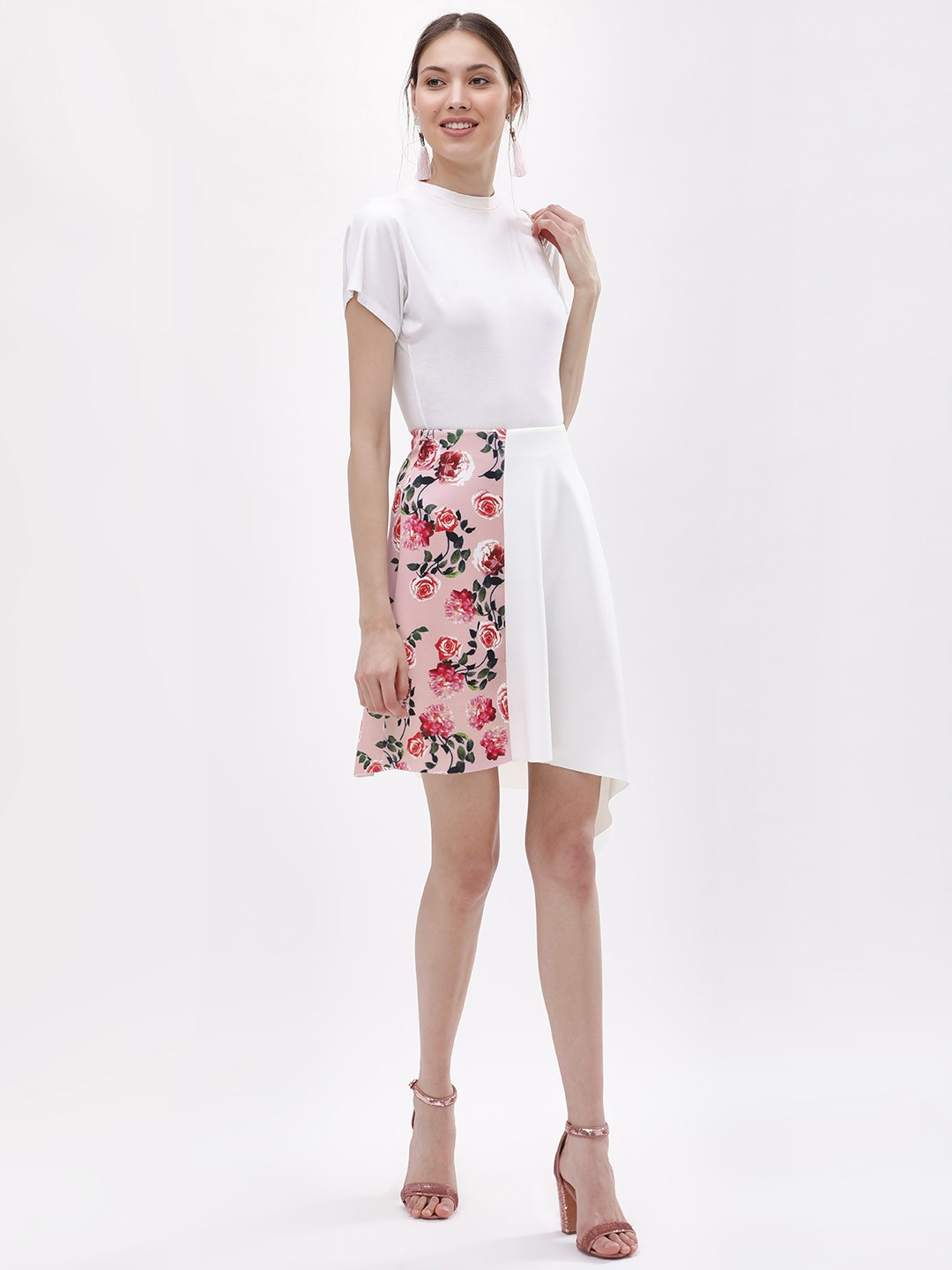 KOOVS White Partially Printed Asymmetric Skirt 1