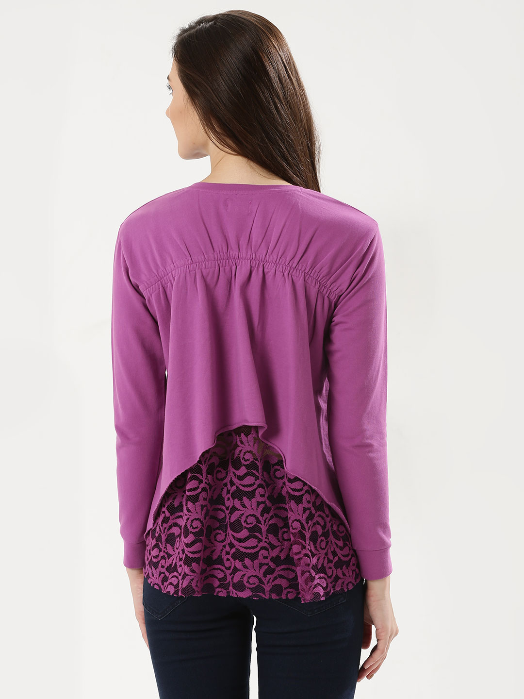 Beyond Clouds PLUM Lace Insert Ruched Back Sweatshirt 1