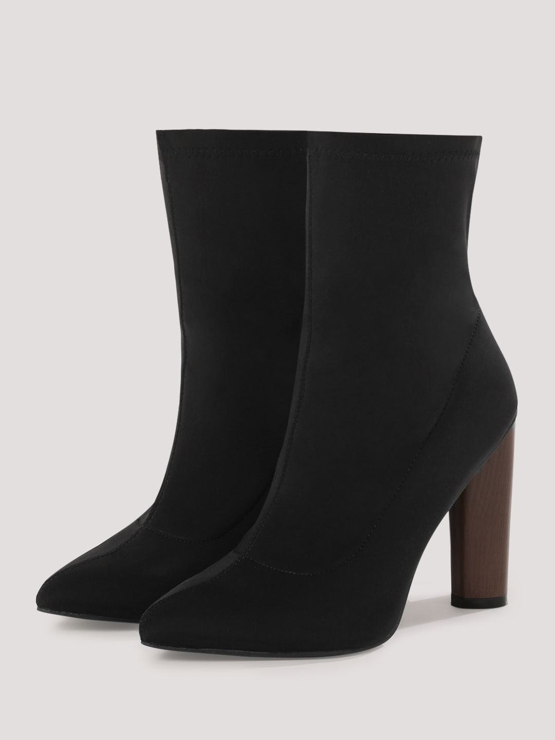 Truffle Collection Black Lycra High Ankle Boots 1