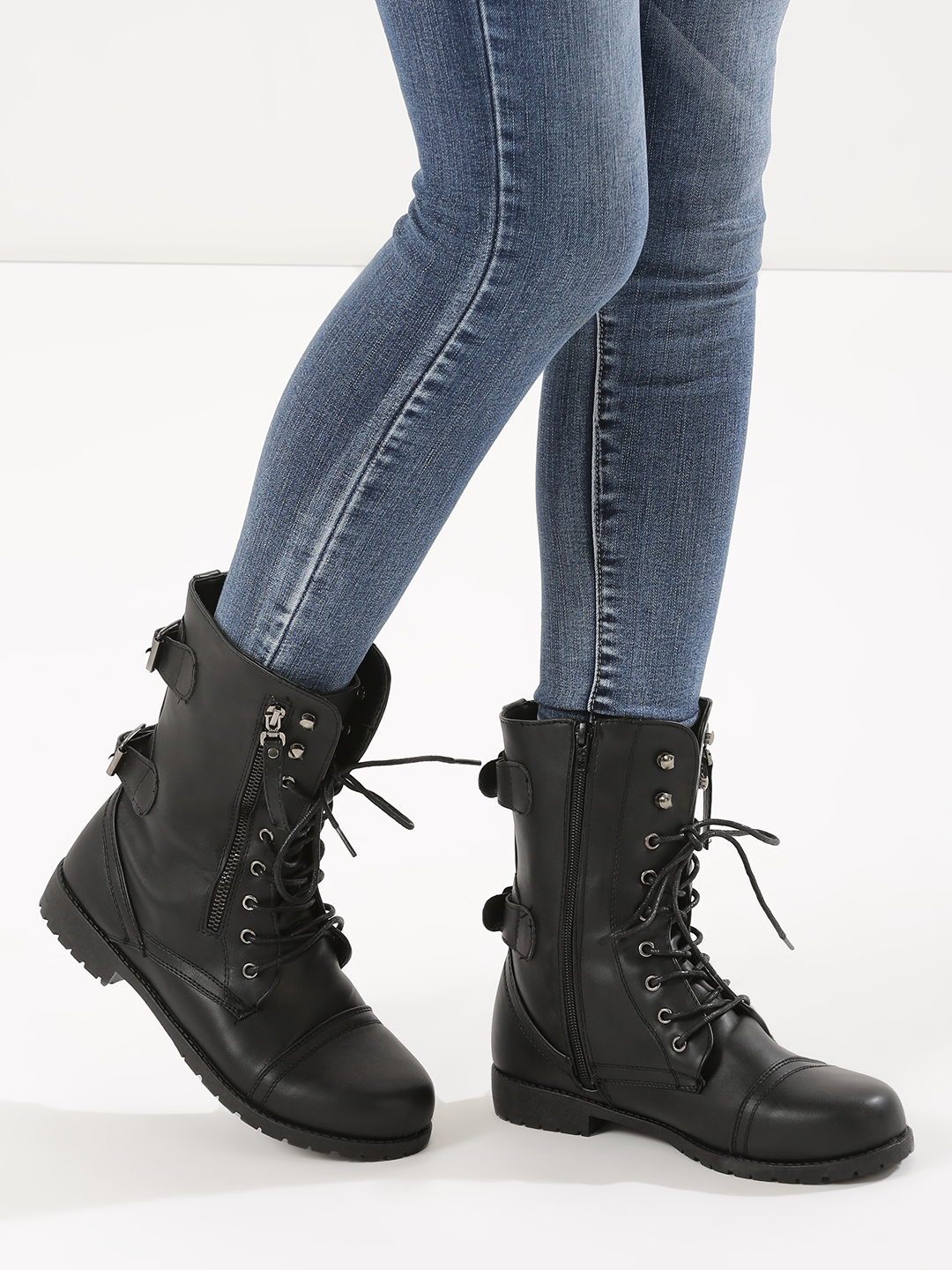 Truffle Collection Black Combat Boots 1