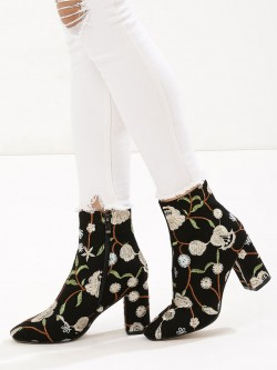 Velvet Army Embroidered Boots