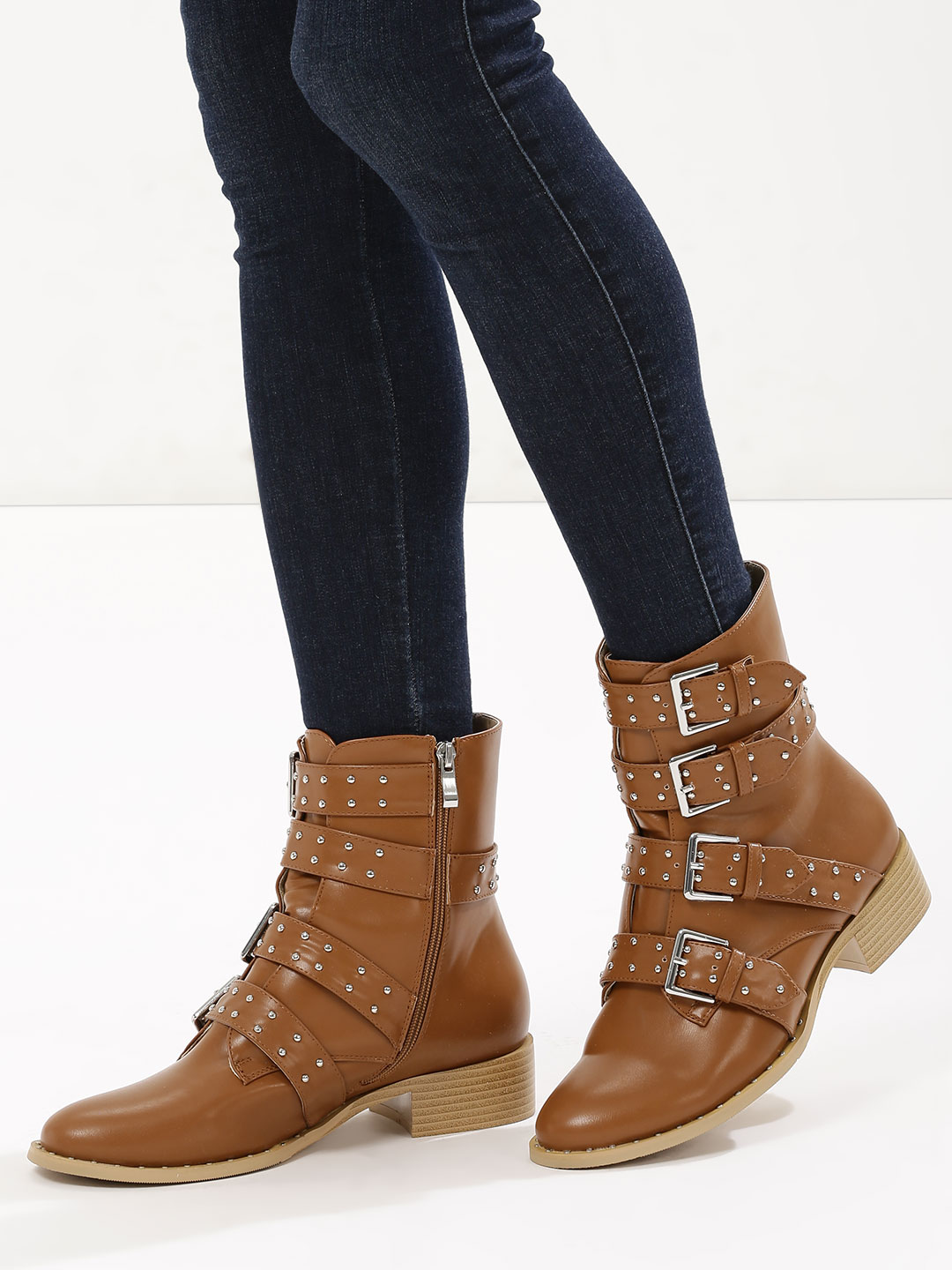 Velvet Army Tan Multi Buckle Ankle Boots 1
