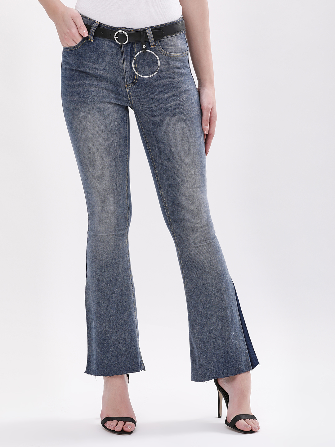 Daisy Street Denim Flared Jeans With D-Ring Detail 1