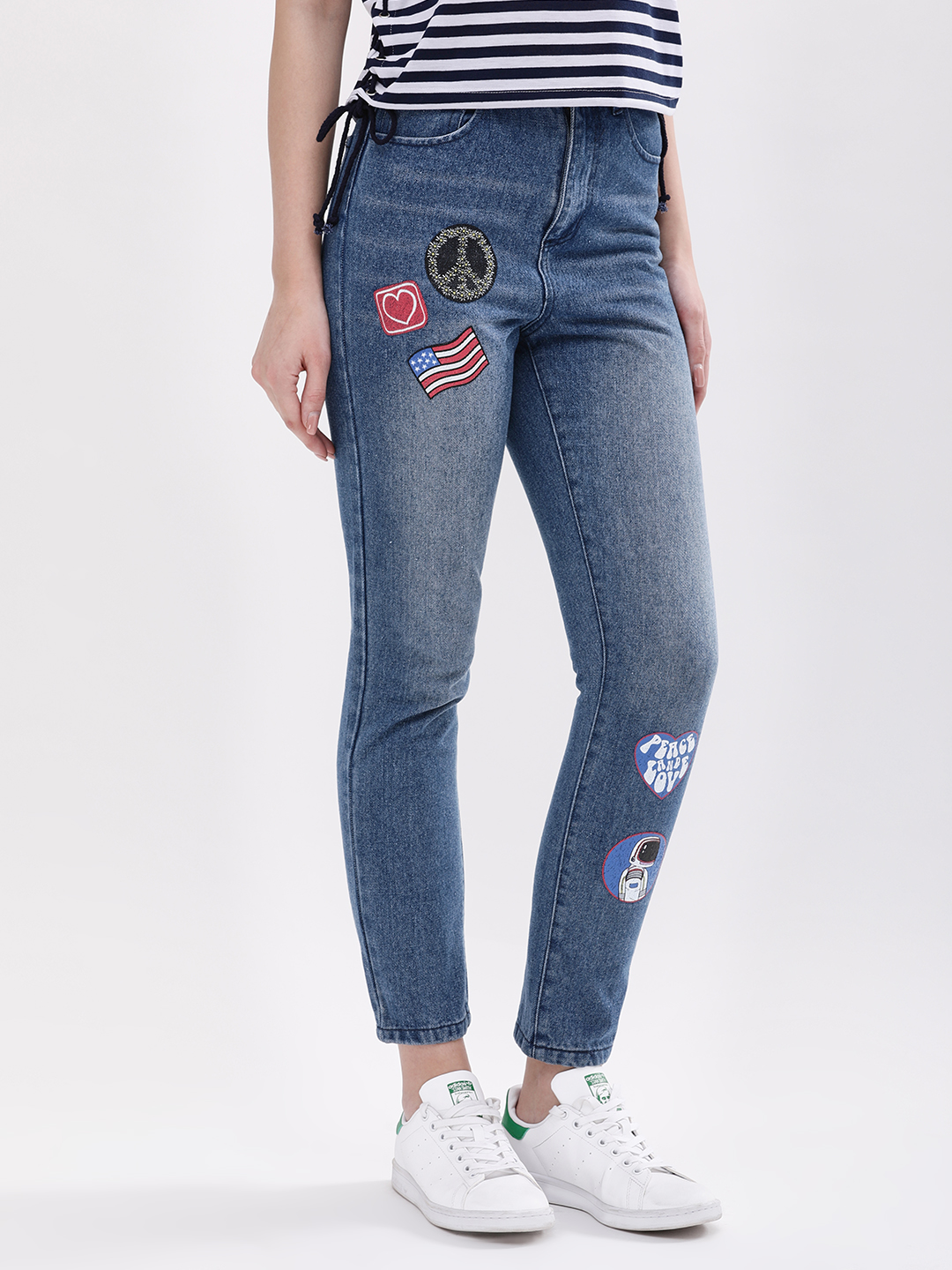 Daisy Street Denim L Skinny Jeans With Badge Detail 1