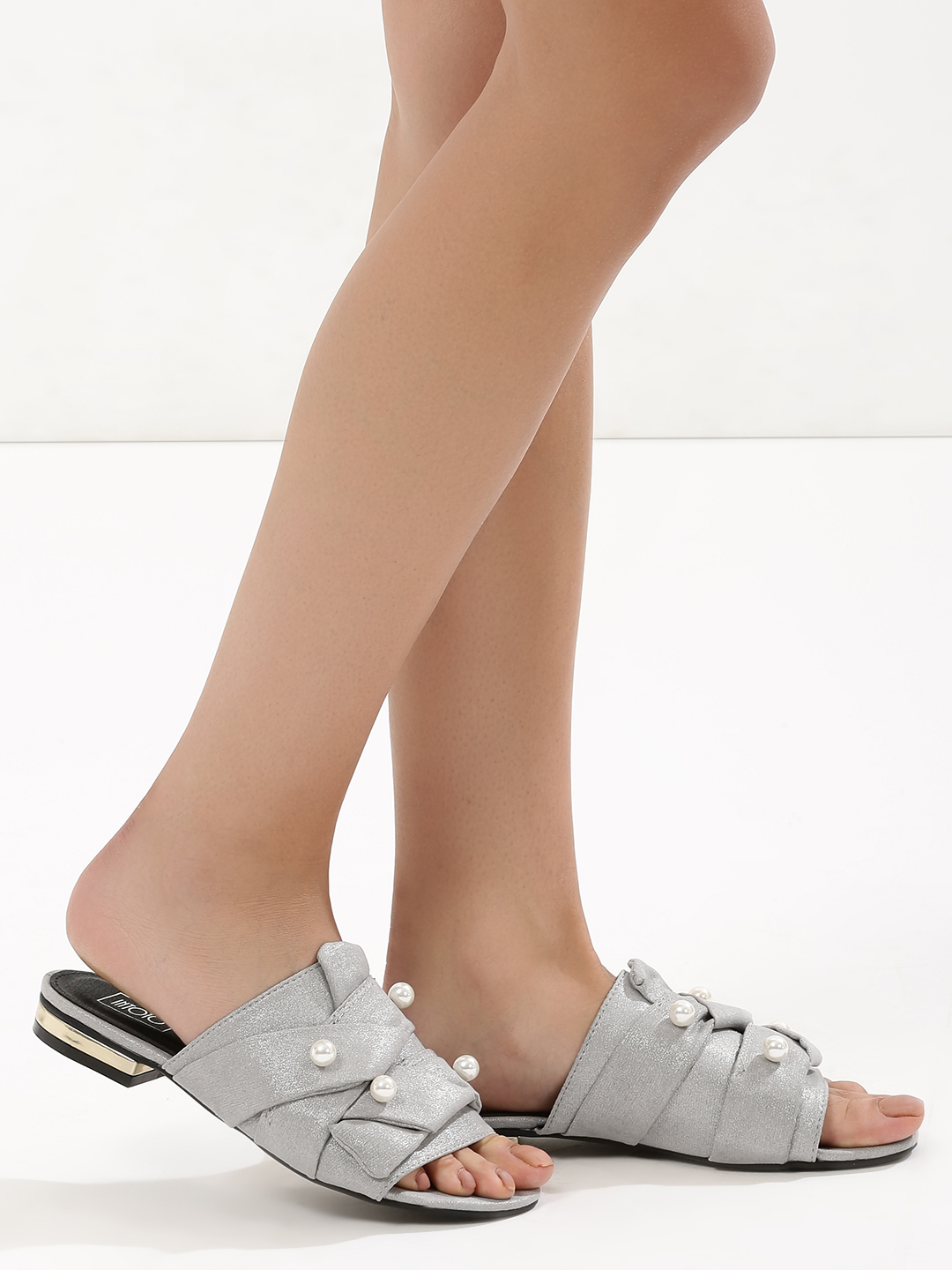 Intoto Grey Pearl And Knot Detail Flat Mules 1