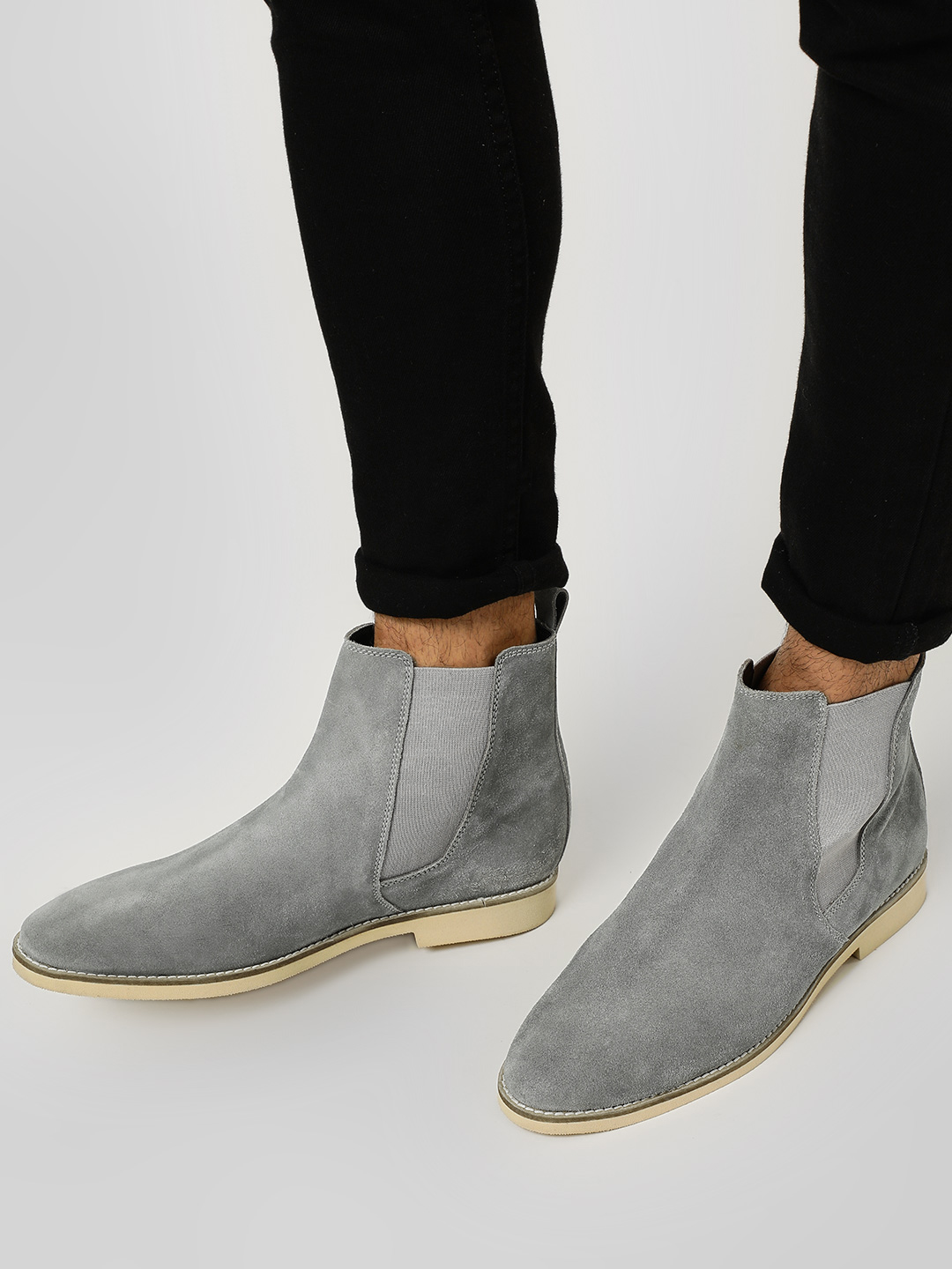 Griffin Grey Suede Gusset Chelsea Boots 1