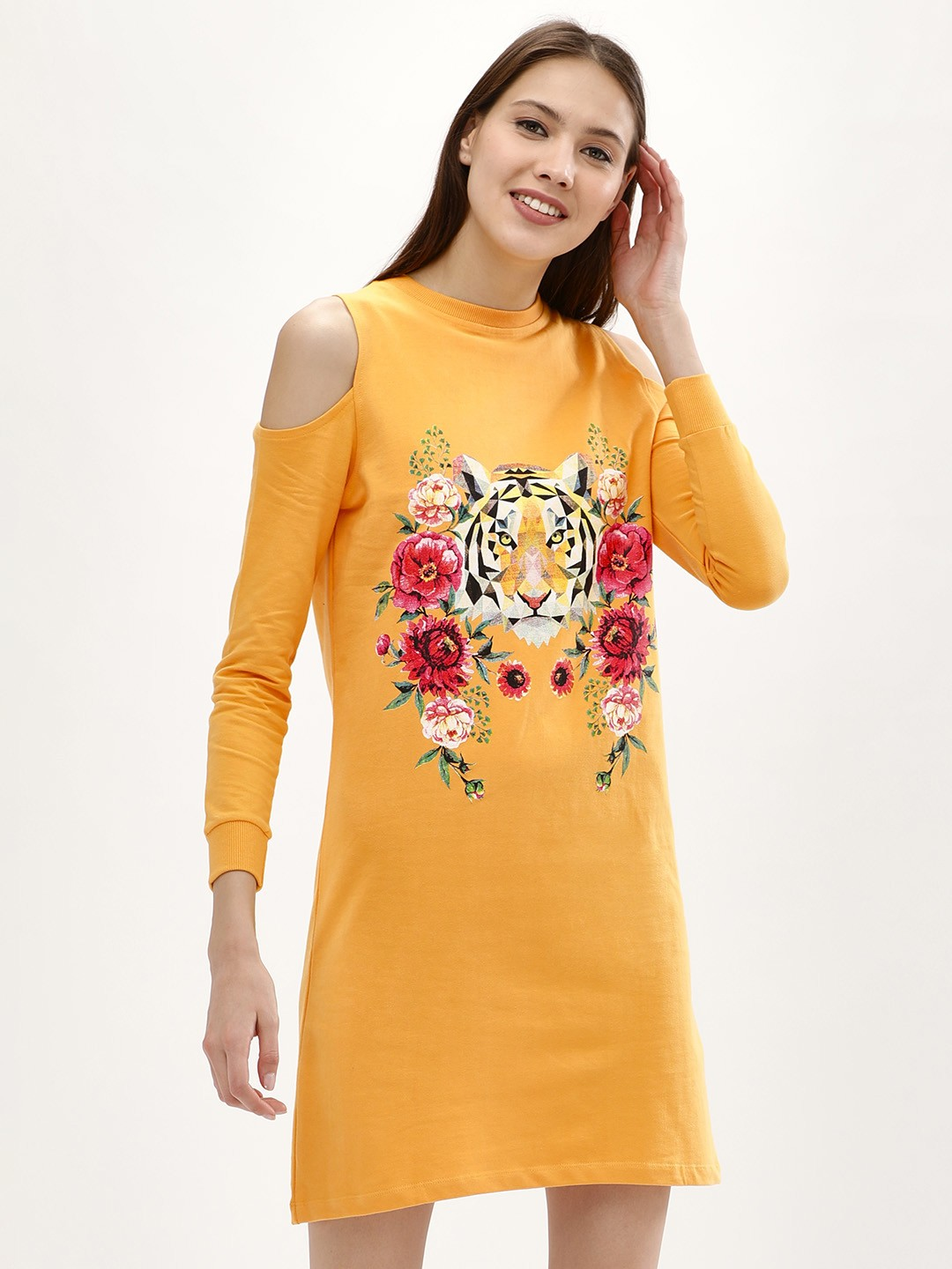 Evah London Yellow Tiger Print Sweat Dress 1