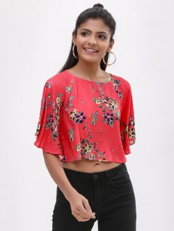 KOOVS Butterfly Sleeve Printed Crop Top