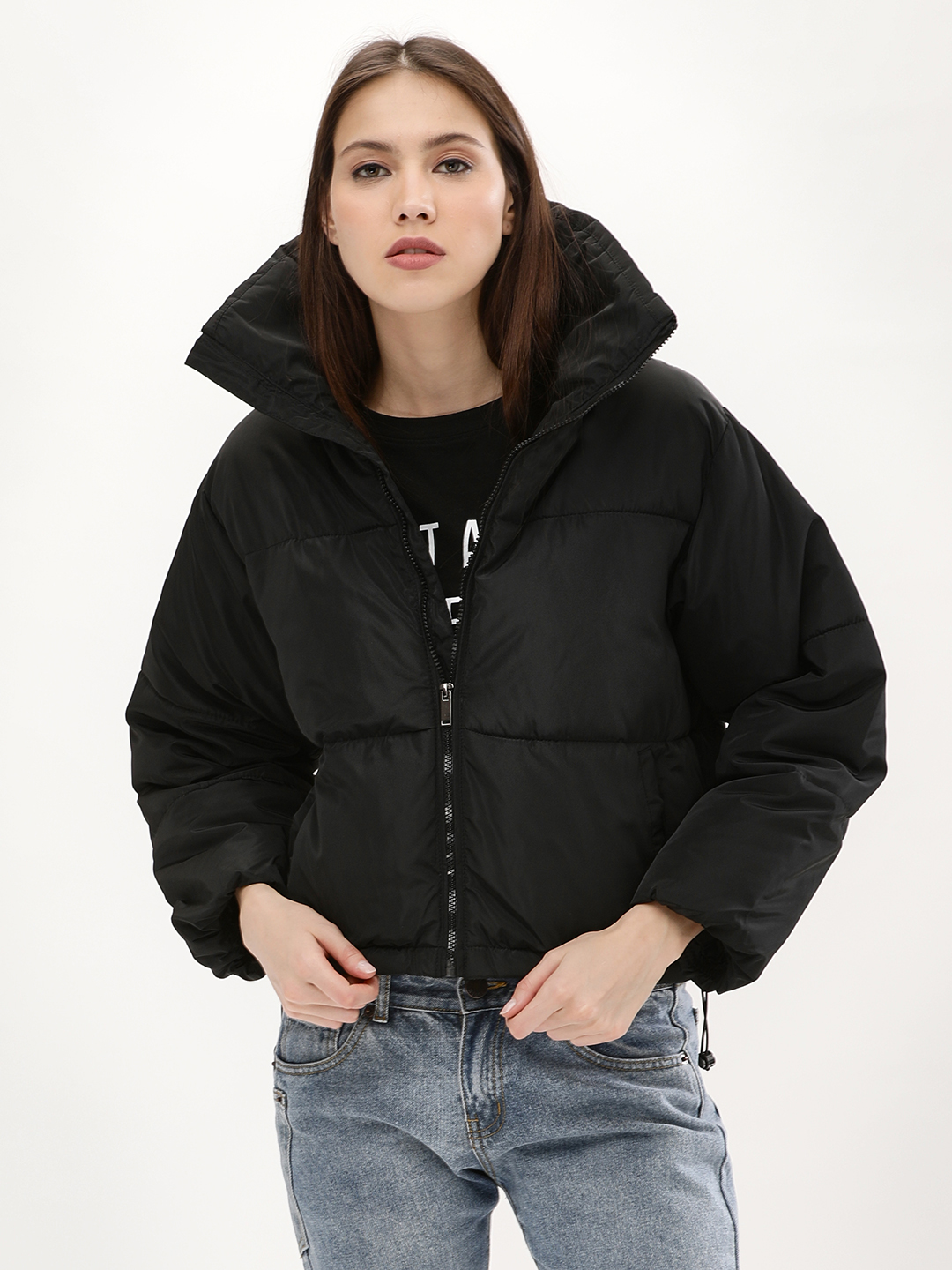 UO Velvet Cropped Puffer Jacket | Cropped puffer jacket