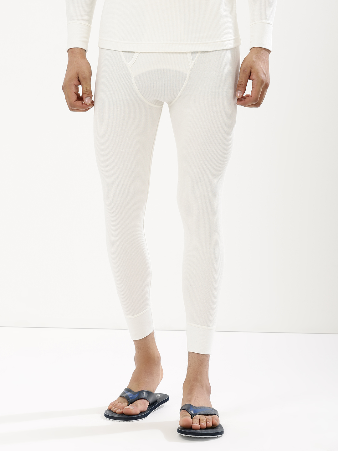 Jockey Off White Cuffed Hem Thermal Pants 1