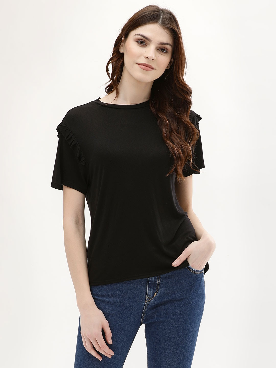 KOOVS Black Frill Shoulder T-Shirt 1