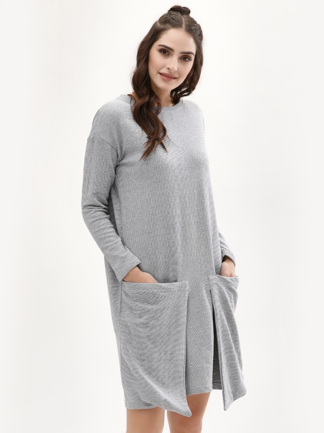 Evah London Grey Sweat Dress With Sack Pocket 1