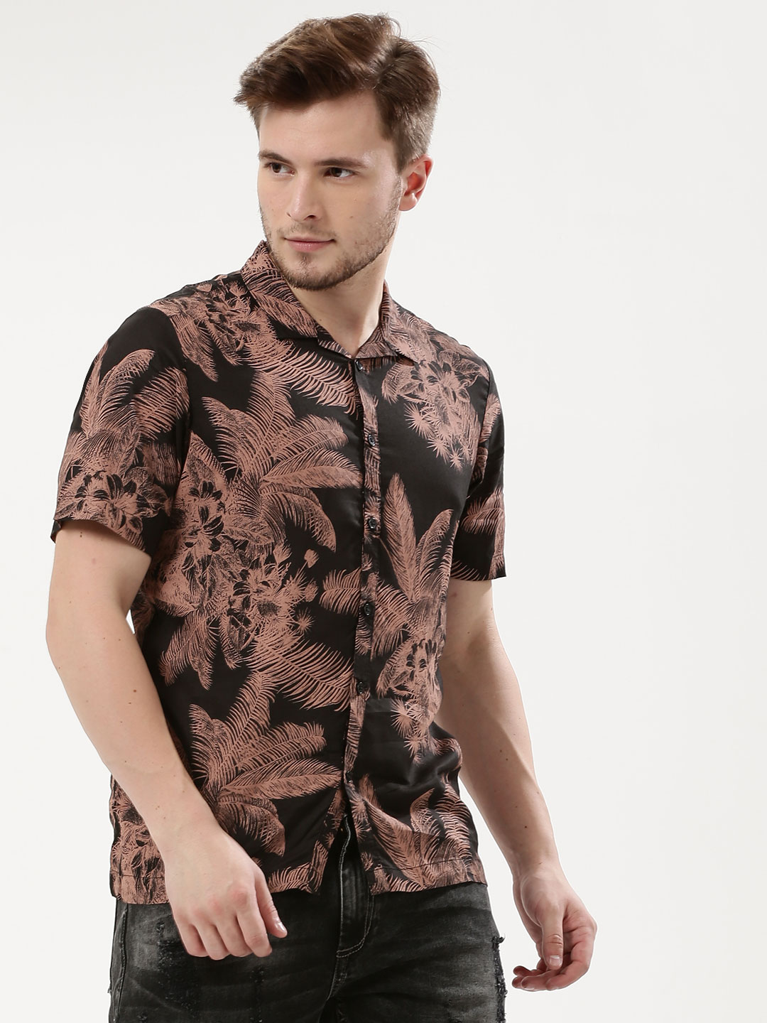 Adamo London Multi Palm Tree Printed Cuban Collar Shirt 1
