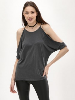 New Look Cold Shoulder Step Hem T-Shirt