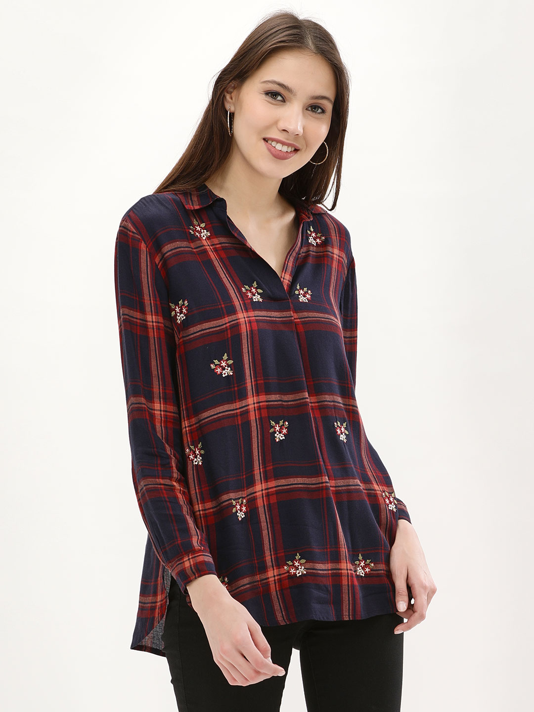 New Look Mustard Embroidered Flannel Check Step Hem Shirt 1