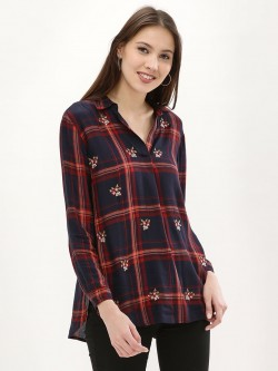 New Look Embroidered Flannel Check Step Hem Shirt