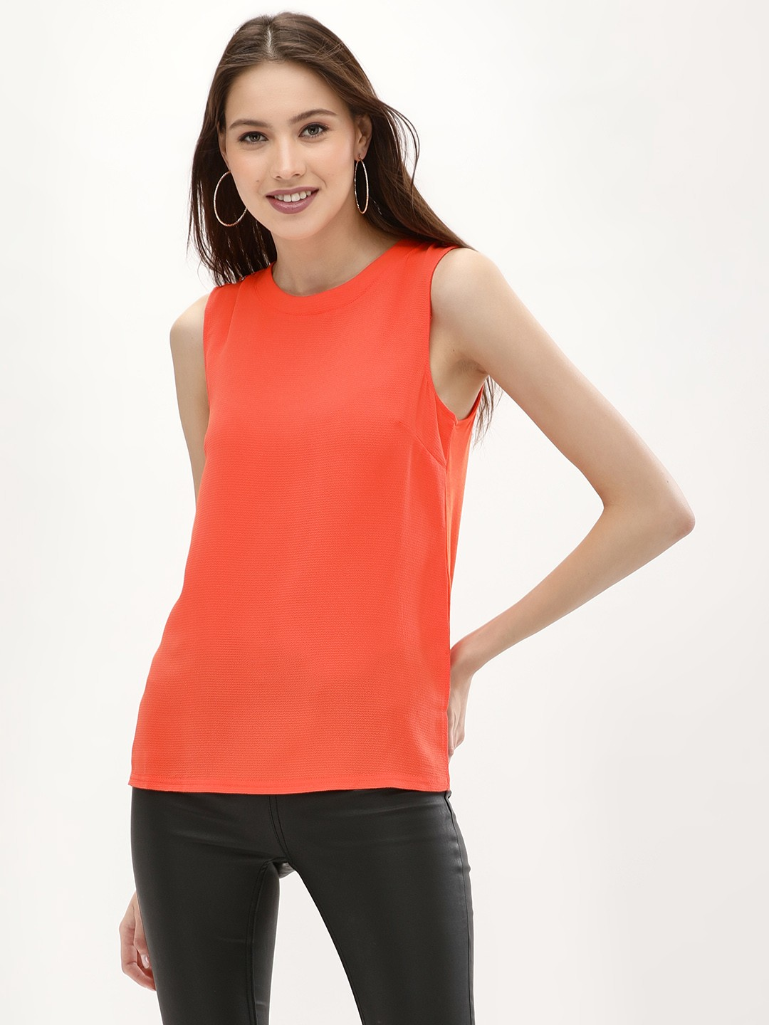 New Look Bright Orange Vest With D Ring Detail 1