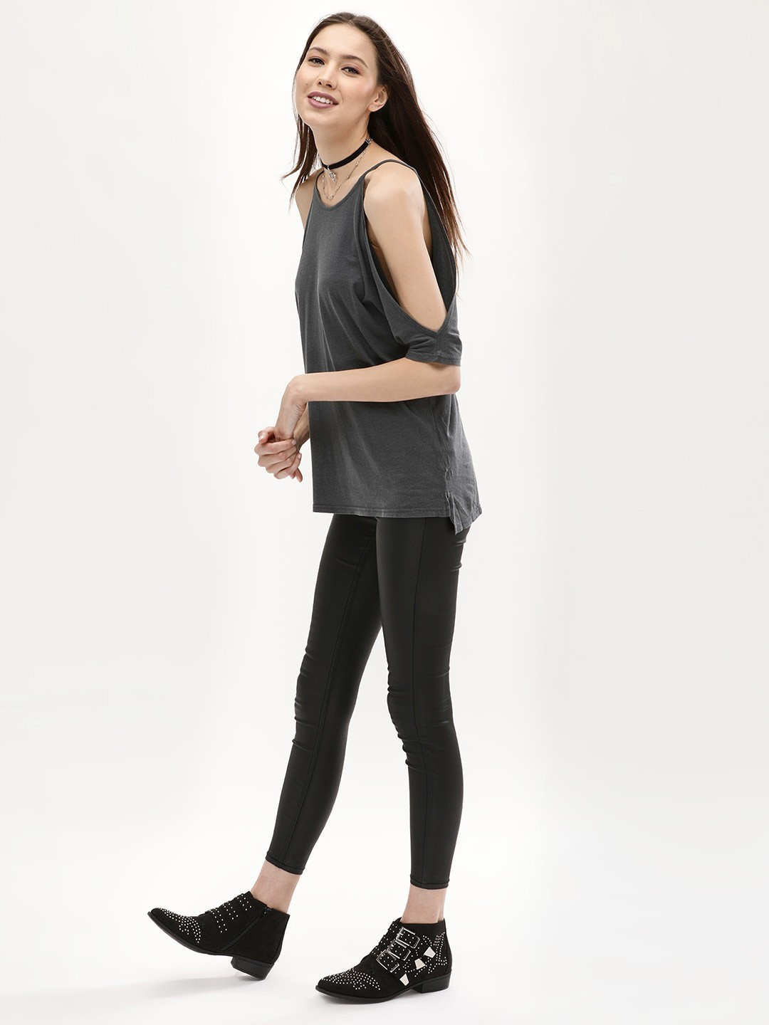 New Look Black Coated Cropped Jeggings 1