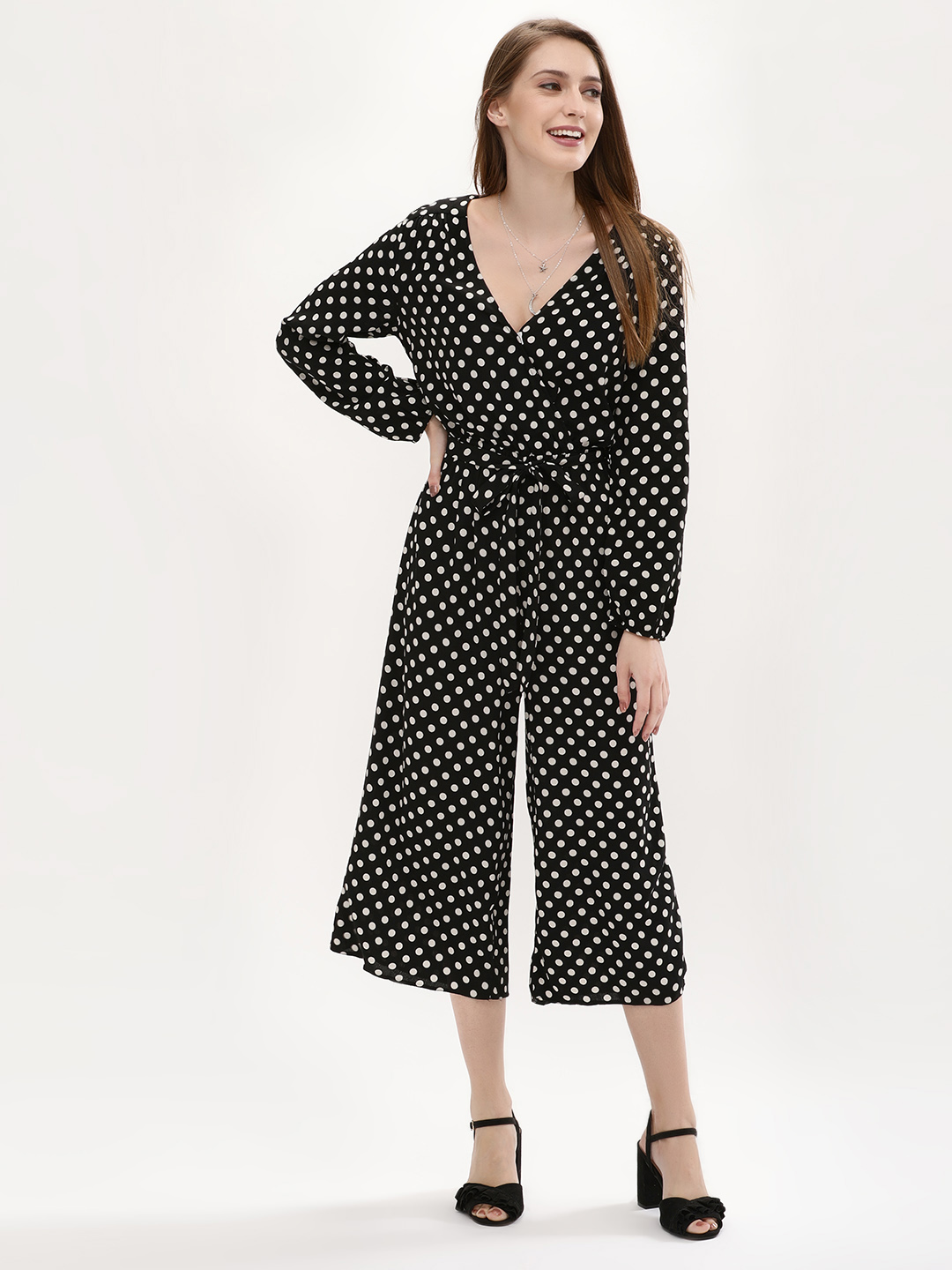 New Look BLACK PATTERN Polka Dot Belted Cropped Jumpsuit 1