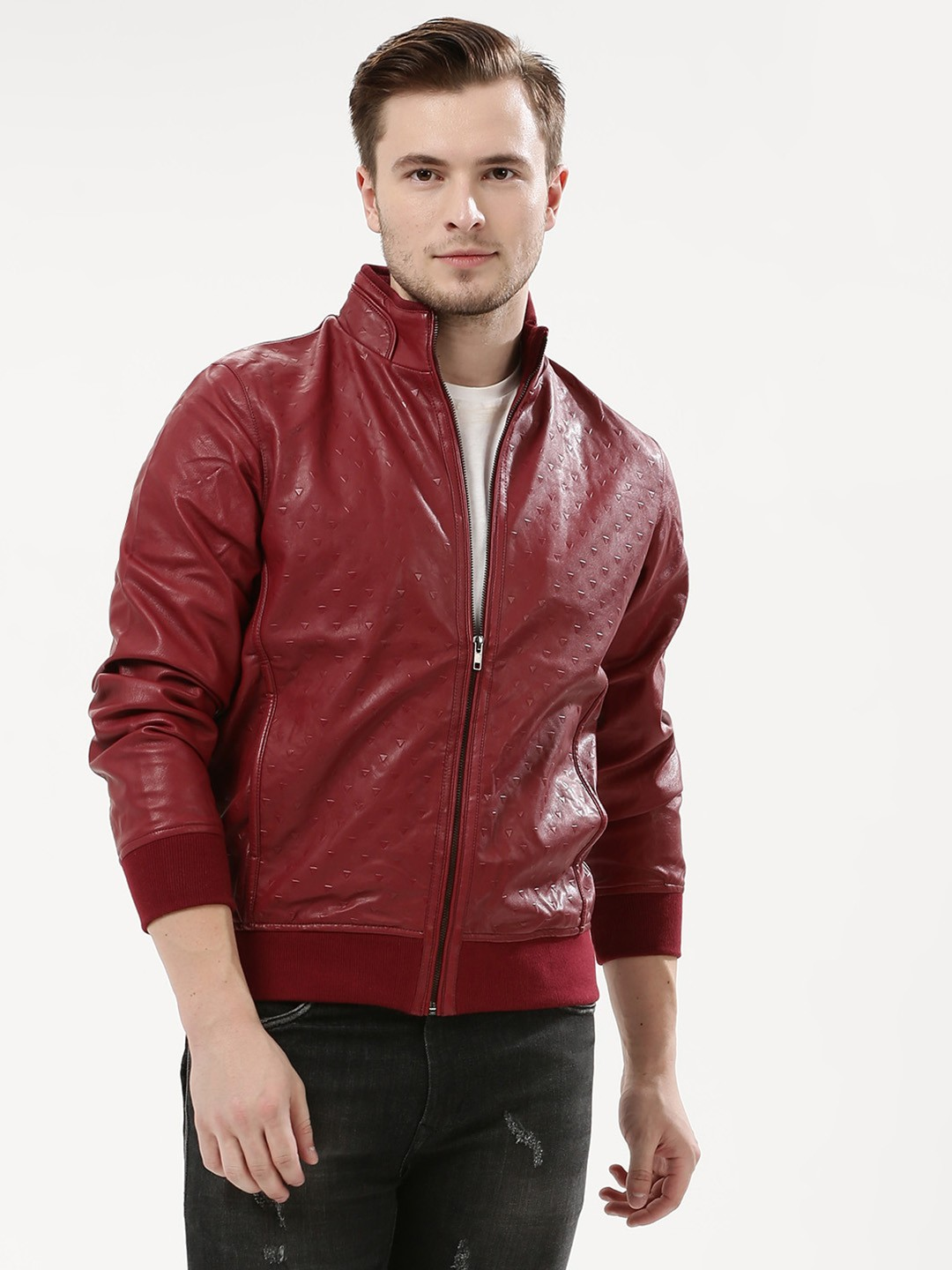 Fort Collins Maroon Embossed Bomber Jacket 1