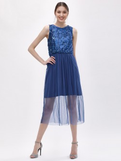 KOOVS Sequin Mesh Midi Dress