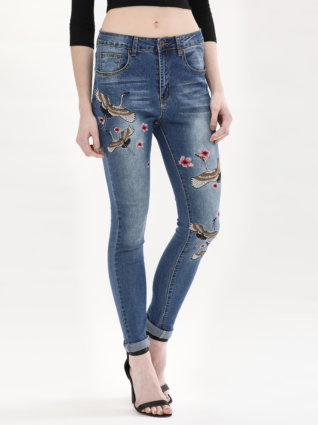 Liquor n Poker MID DENIM Oriental Flowers & Swan Embroidered Jeans 1