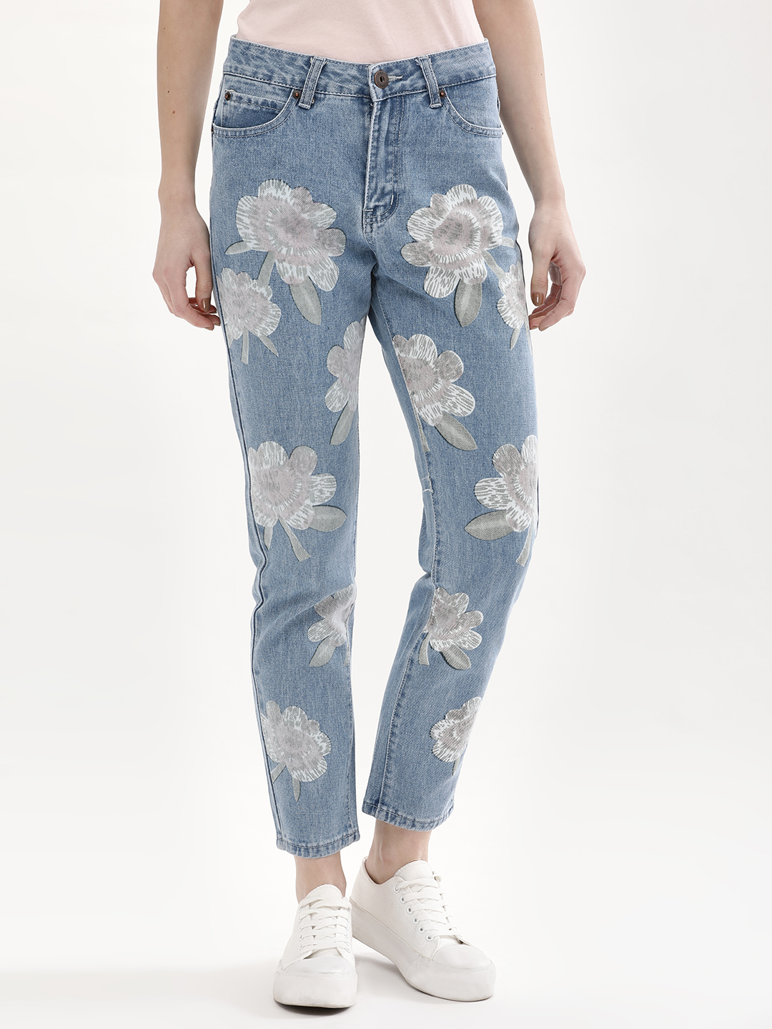 Liquor n Poker Stonewash Lilly Print Straight Jeans 1