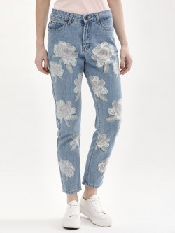 Liquor n Poker Lilly Print Straight Jeans