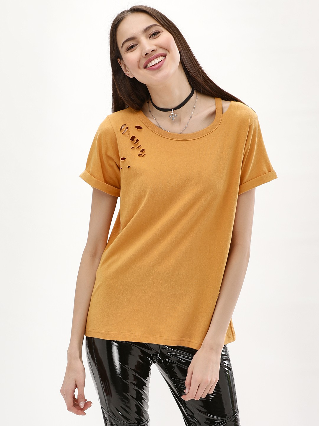 New Look dark yellow Slash Neck Nibbled T-Shirt 1
