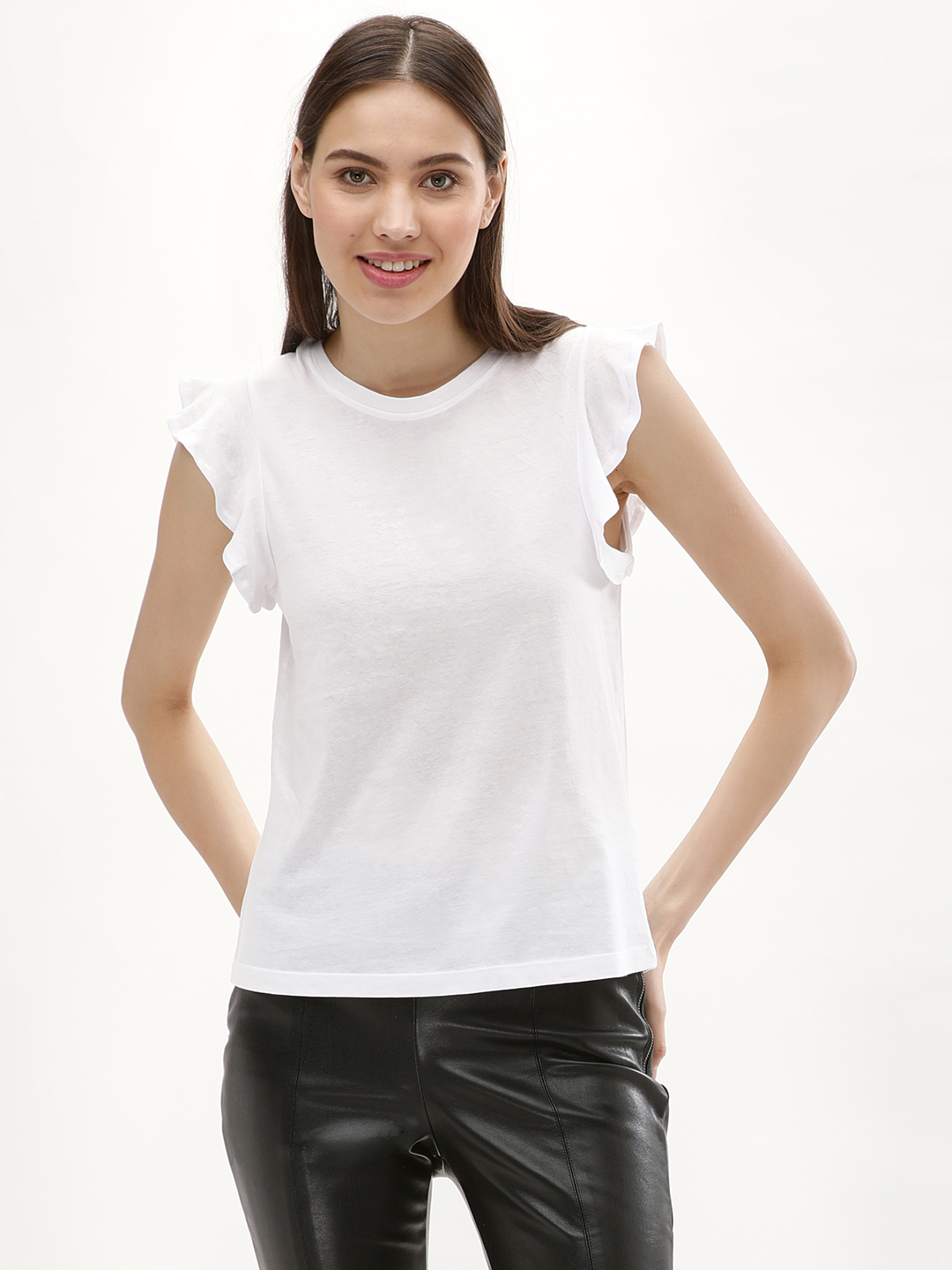 New Look White Frill Shoulder Crew Neck T-Shirt 1
