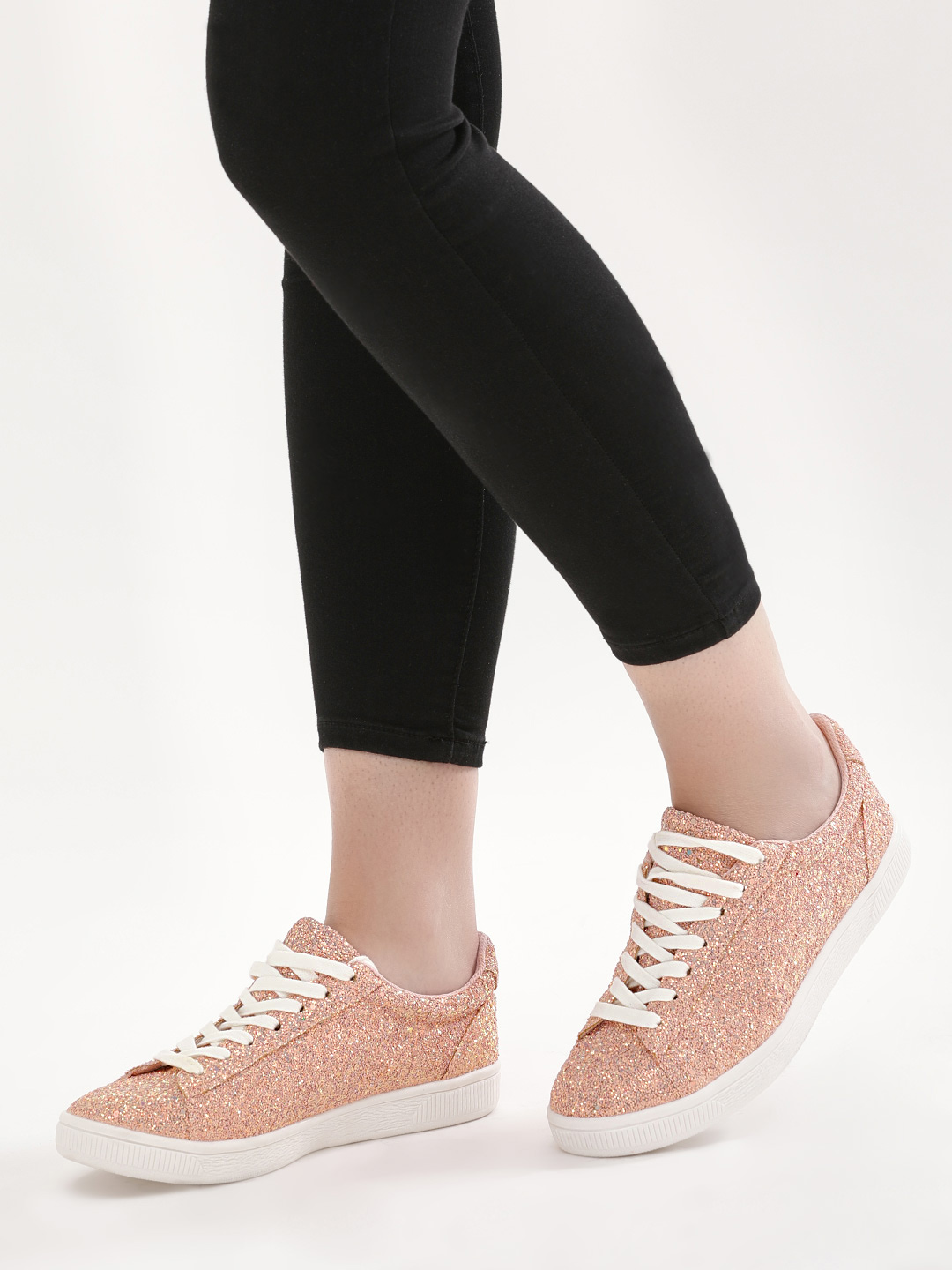 New Look Light Pink All Over Glitter Shoes 1